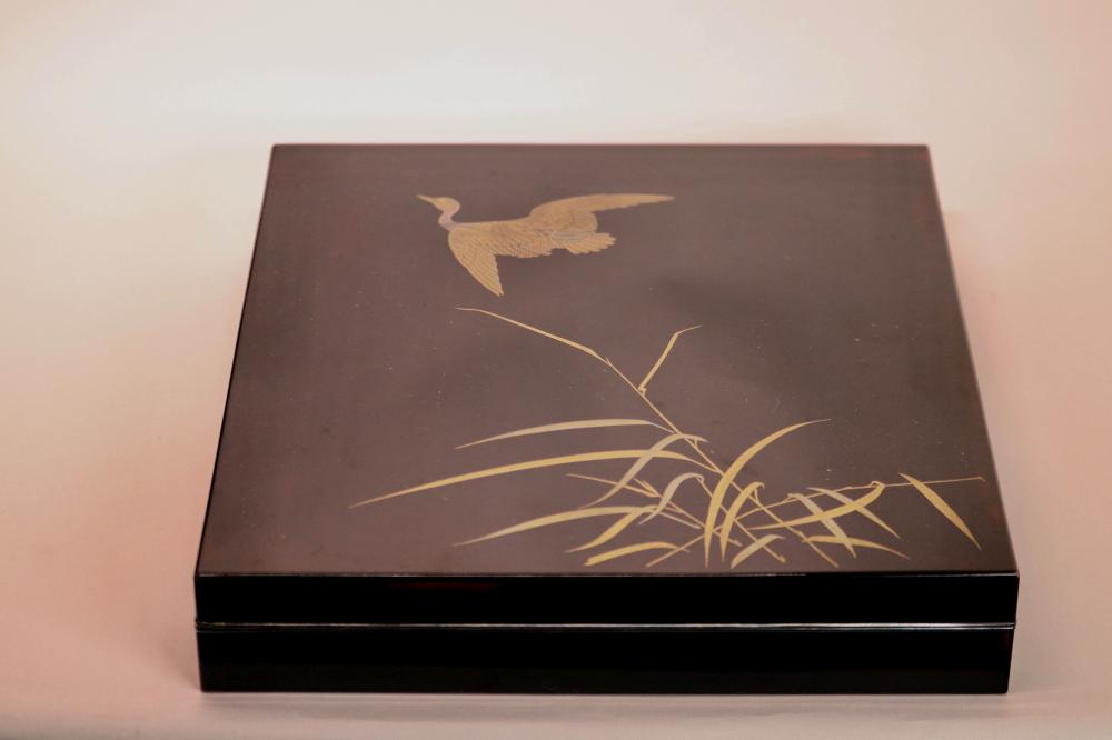 Fine Japanese Lacquer Box with Silver Trim