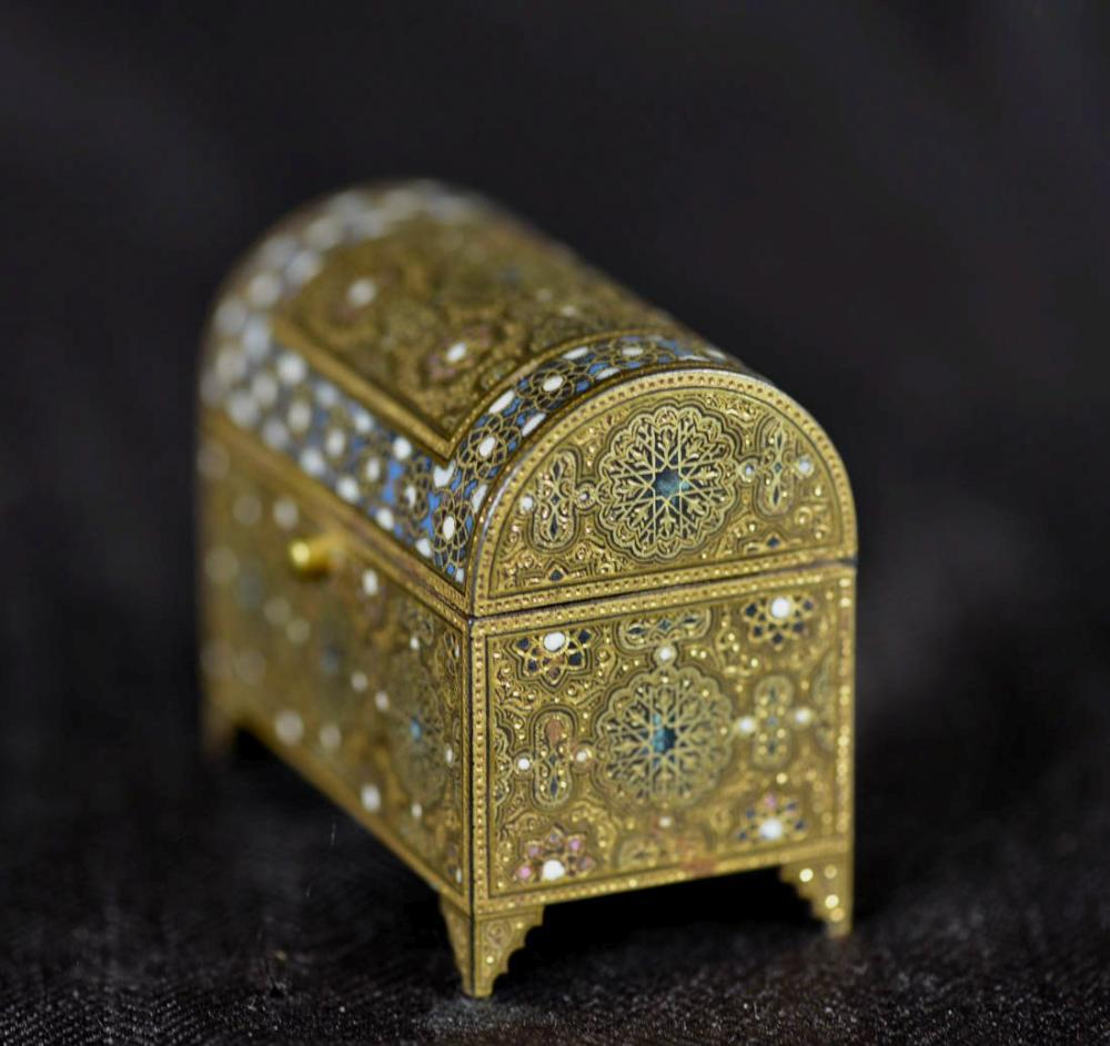 Antique Indian or Persian Iron Box with Enamle