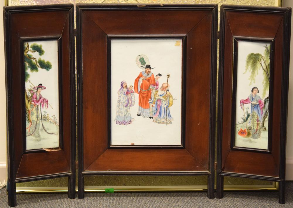 Chinese Porcelain Plaque Screen
