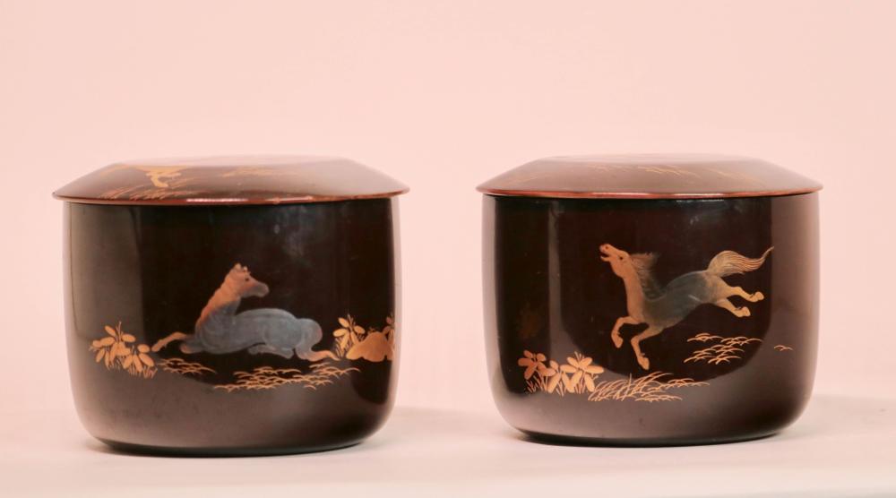 Pair Japanese Lacquer  Go Game Container - Edo Period