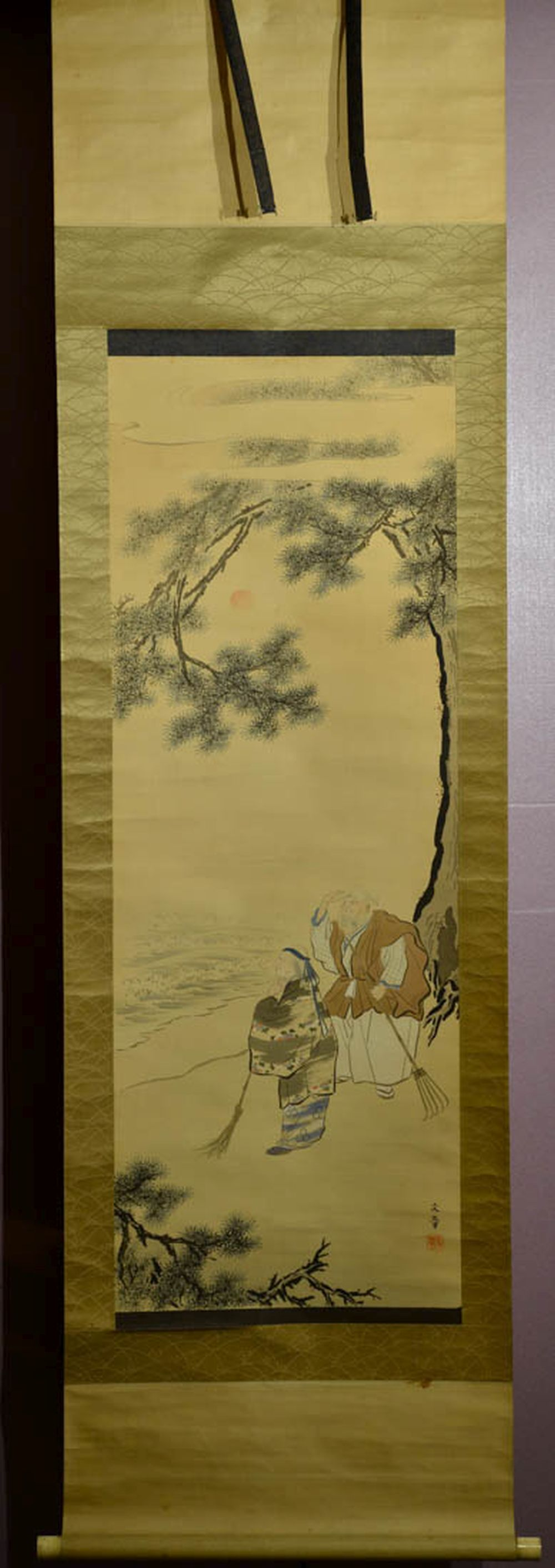 Japanese Water Color Scroll Painting - Gao Sha