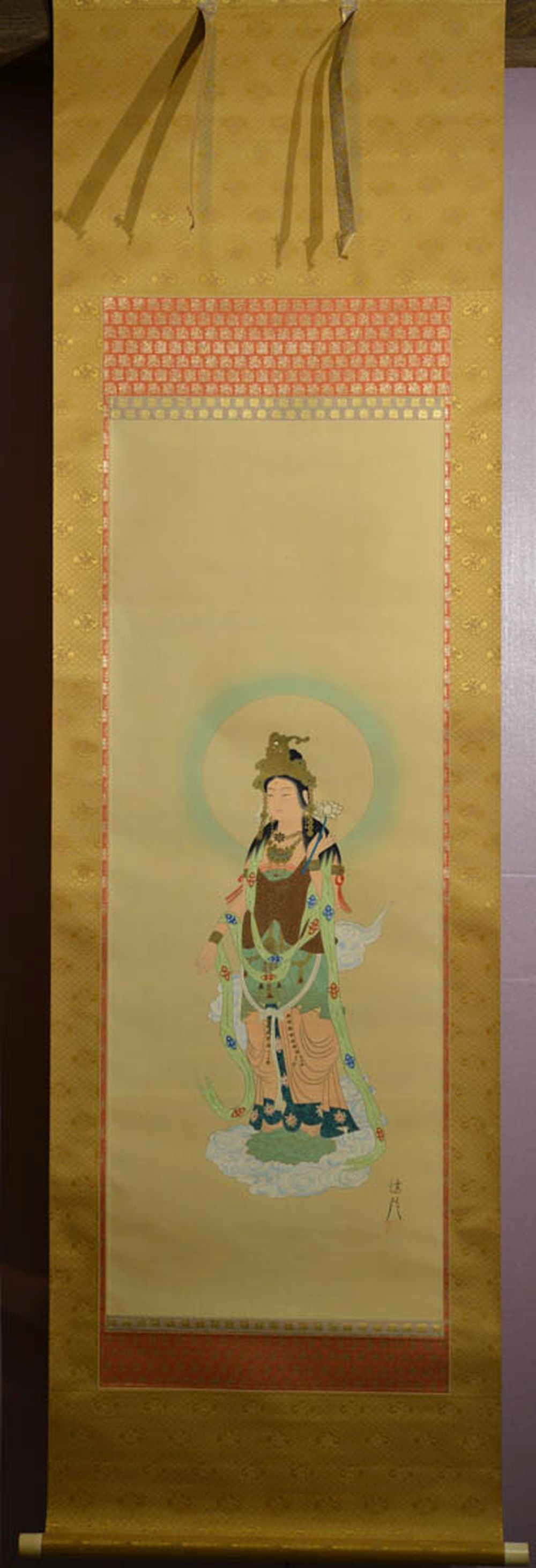 Japanese Water Color Scroll Painting - Kuanyin