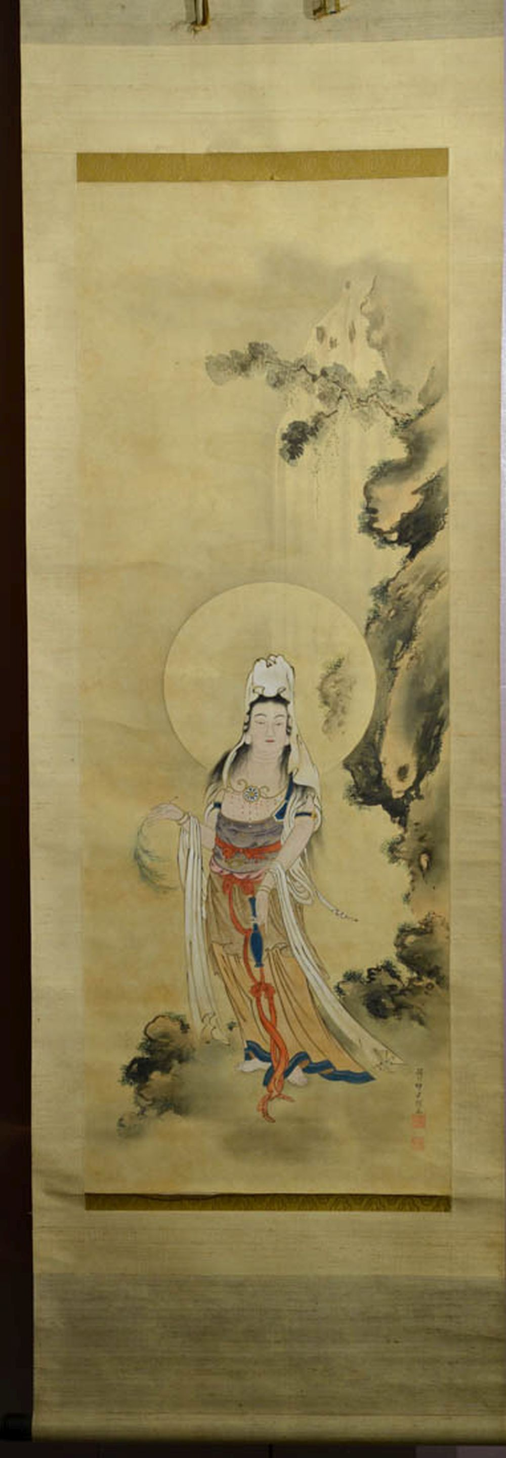 Japanese Water Color Scroll Painting - Kuanyin with willow