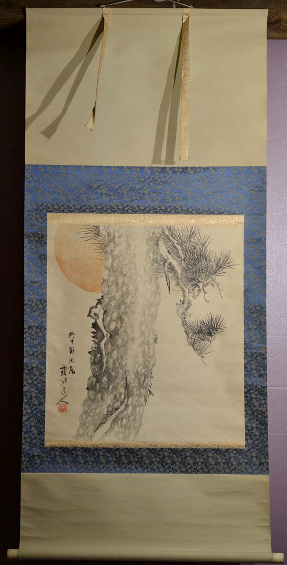 Japanese Water Color Scroll Painting - Morning Pine