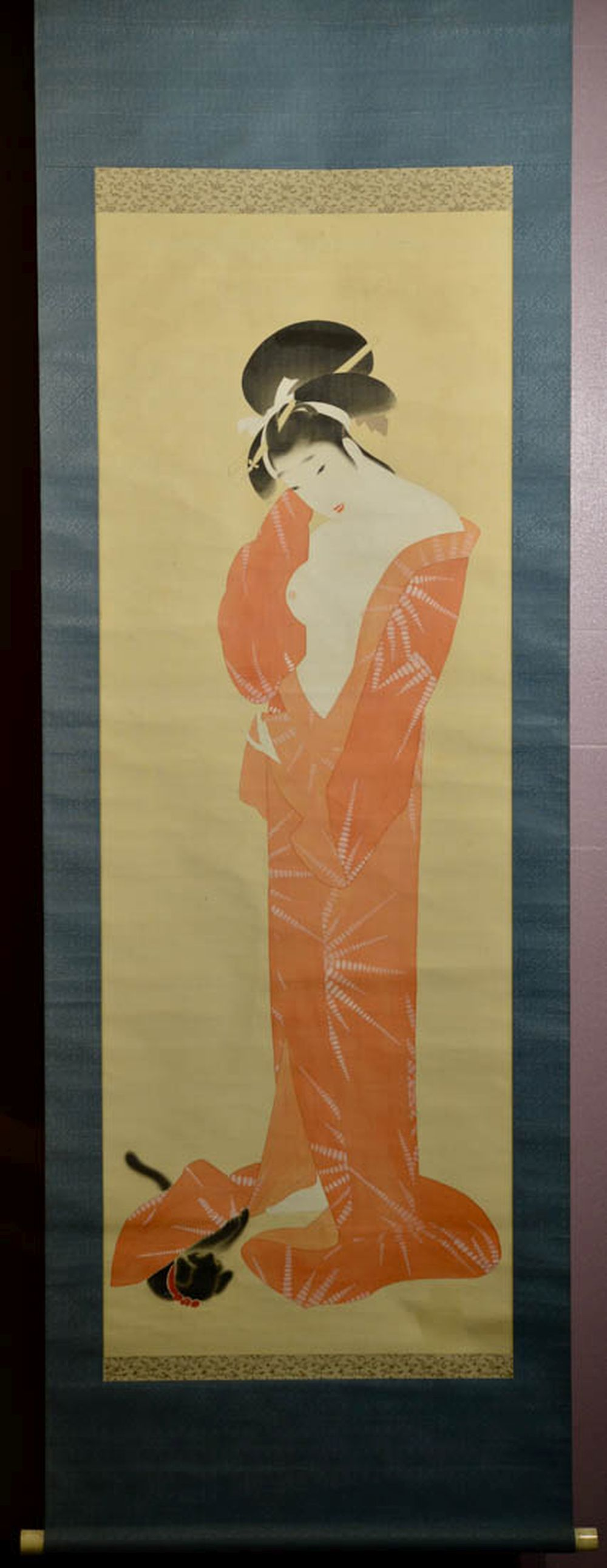 Japanese Water Color Scroll Painting - Erotic Beauty