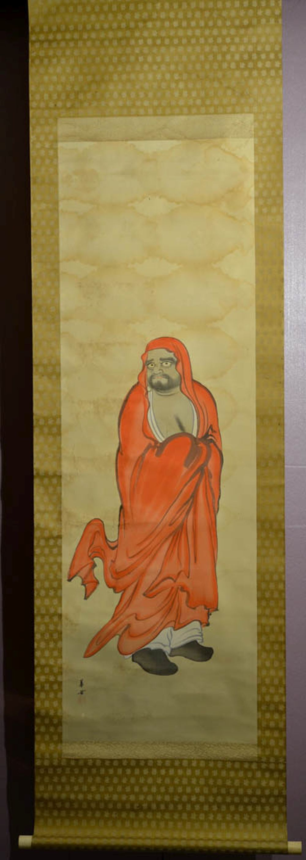 Japanese Water Color Scroll Painting - Red Damo