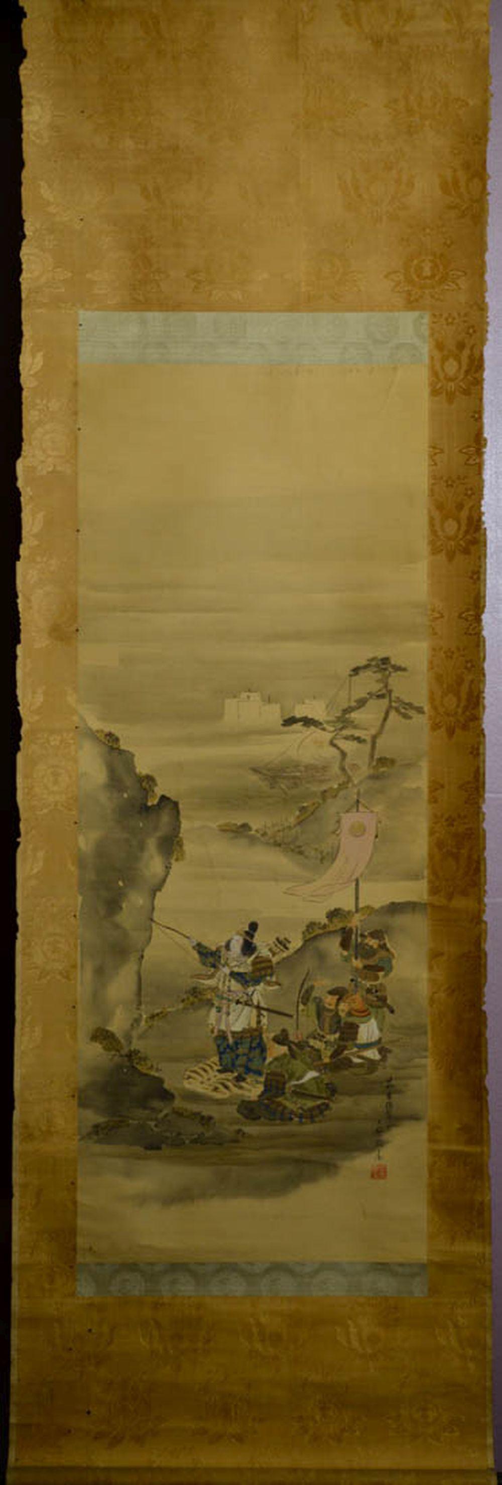 Japanese Water Color Scroll Painting - Samurai