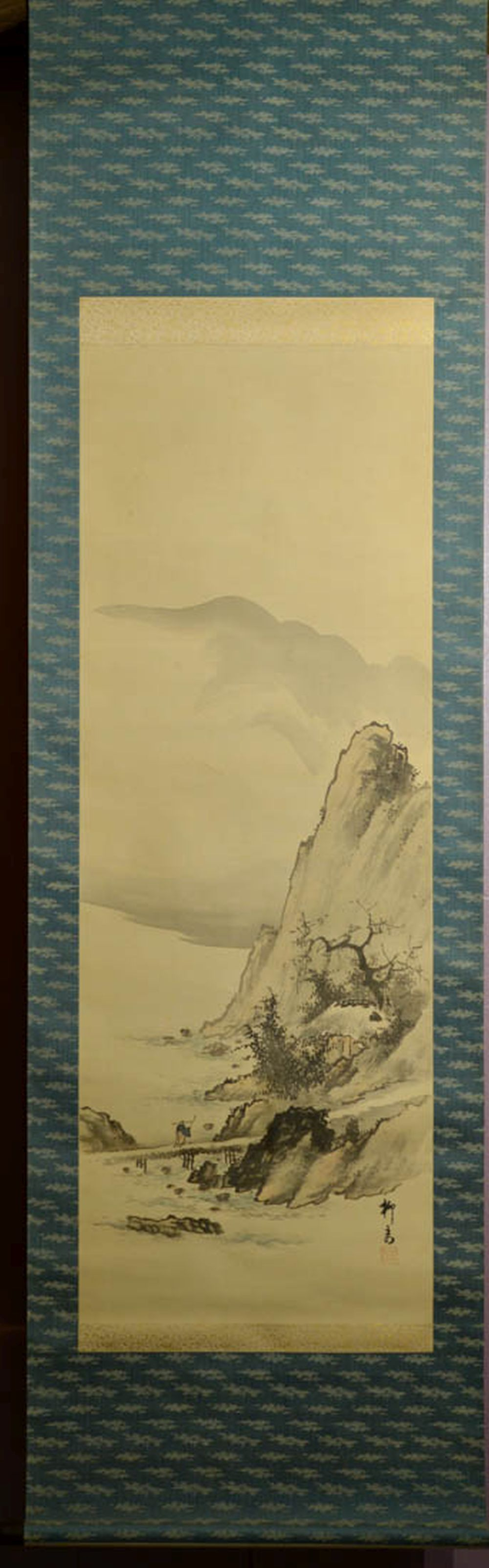 Japanese Water Color Scroll Painting - Mountain Bridge