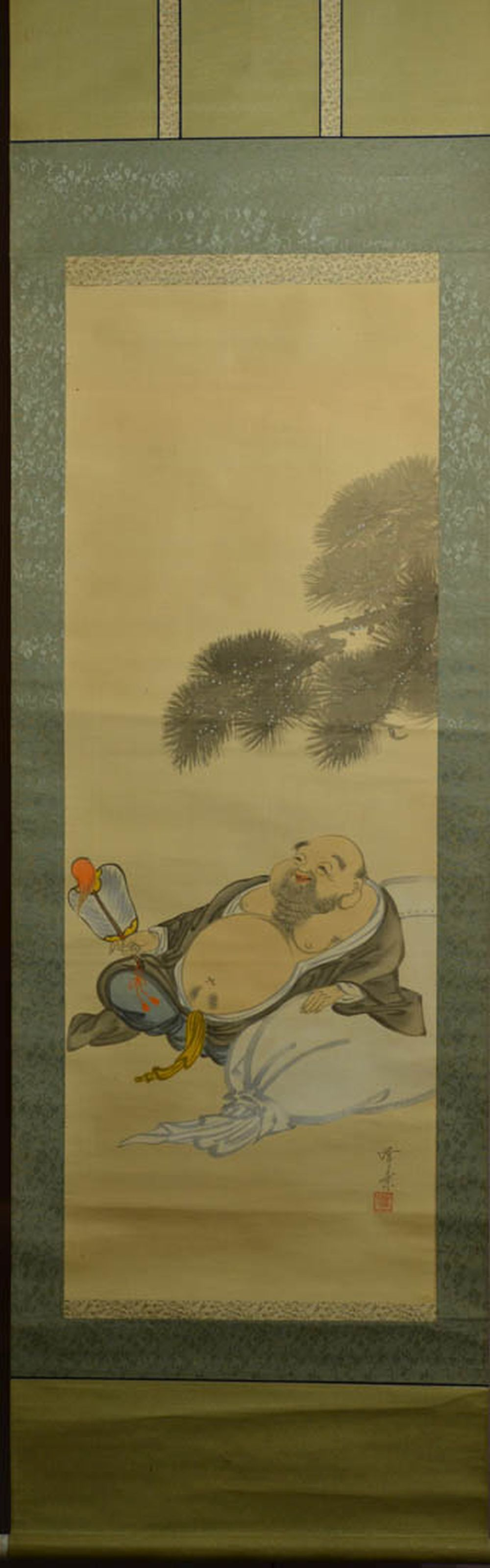 Japanese Water Color Scroll Painting - Hotei