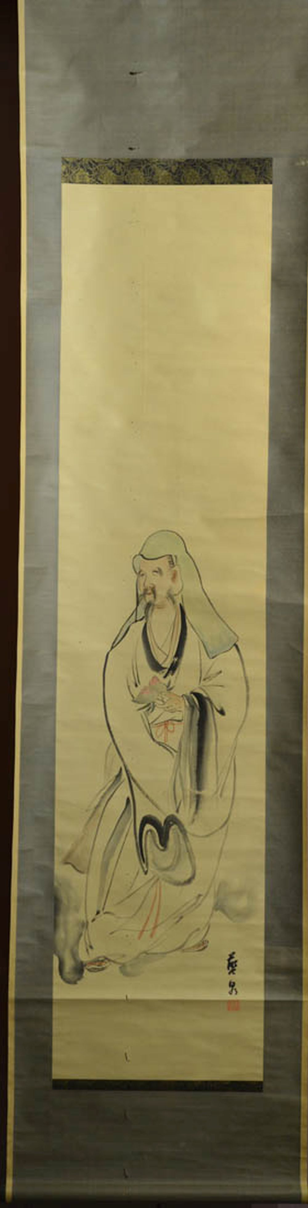 Japanese Water Color Scroll Painting - Scholar with Peach
