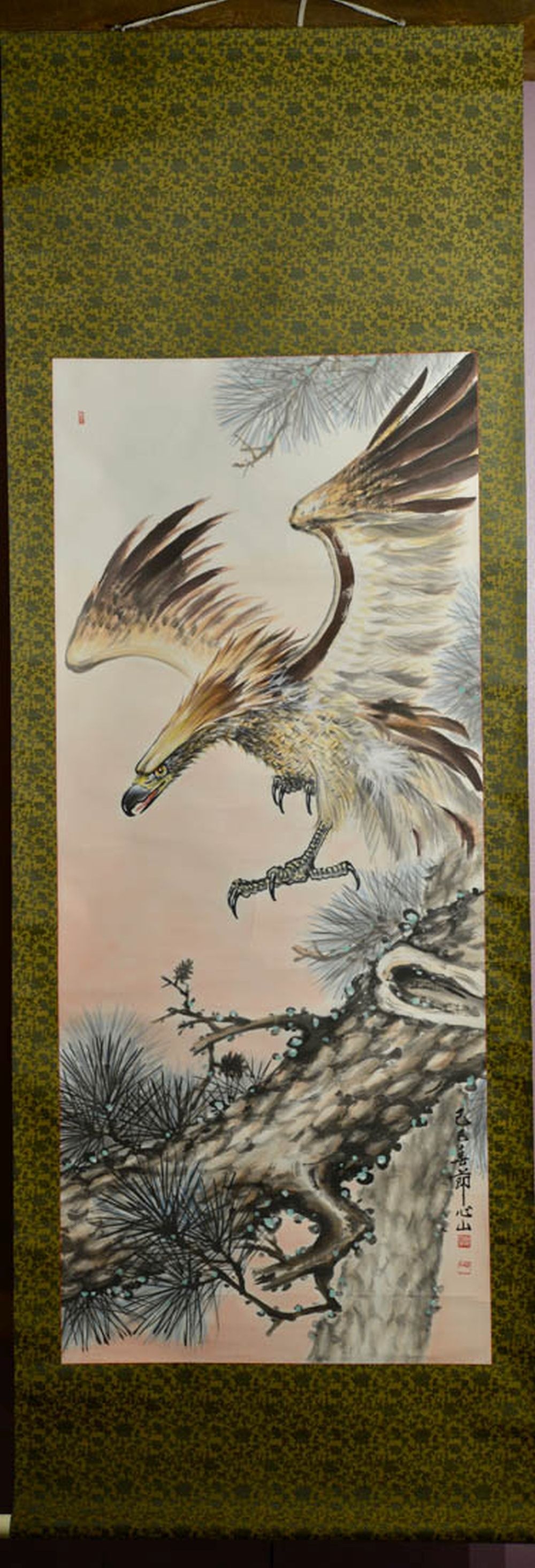 Japanese Water Color Scroll Painting - Hawk