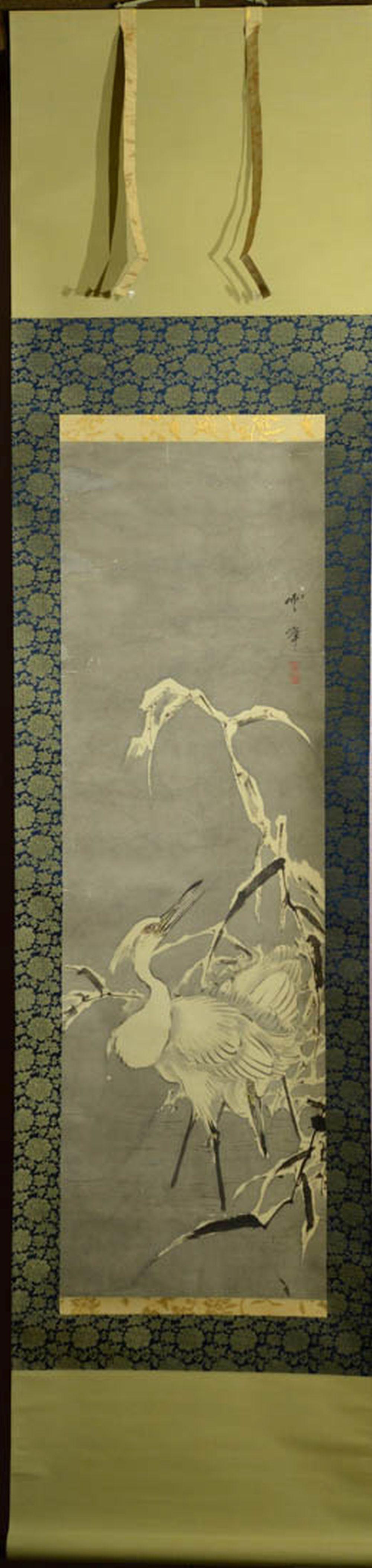 Japanese Water Color Scroll Painting - heron