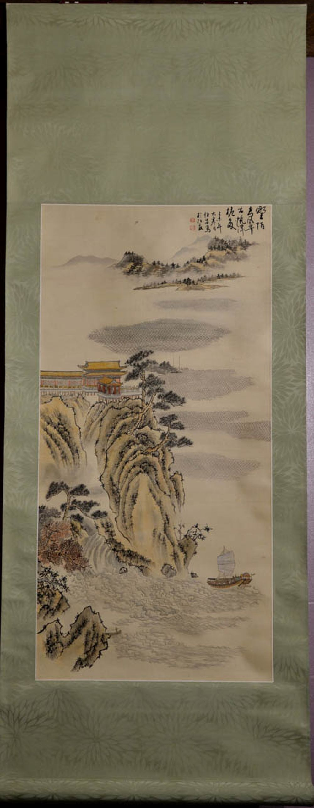 Chinese Water Color Scroll Painting - Mountain Palace