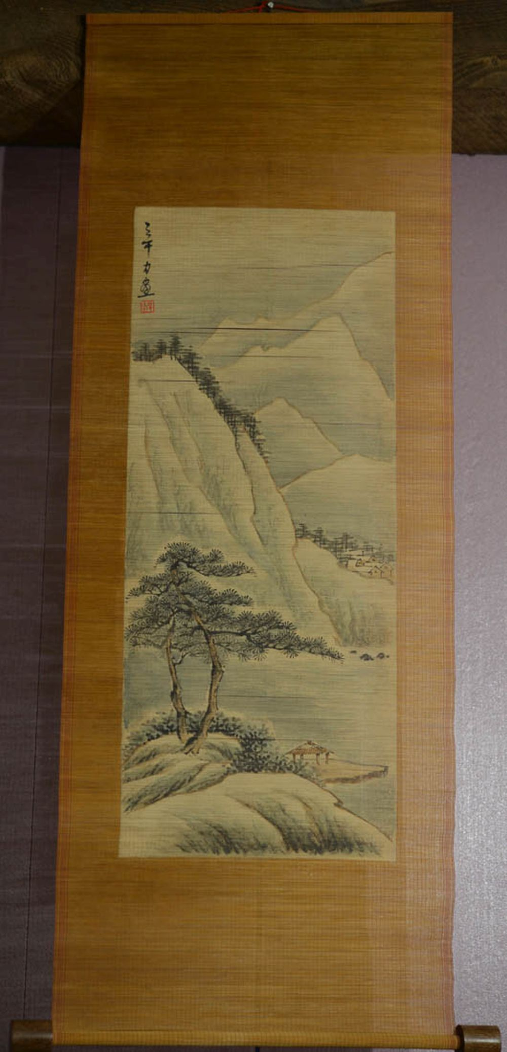 Japanese Water Color Scroll Painting - On bamboo