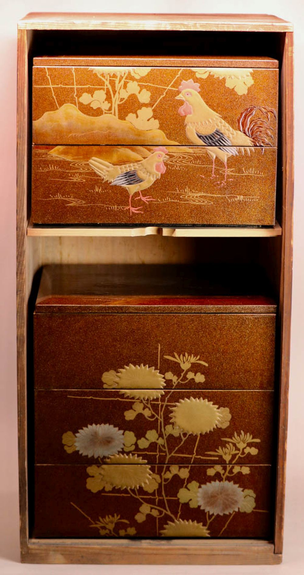 Japanese Meiji Lacquer Stacked Box -  Dated 42nd Year