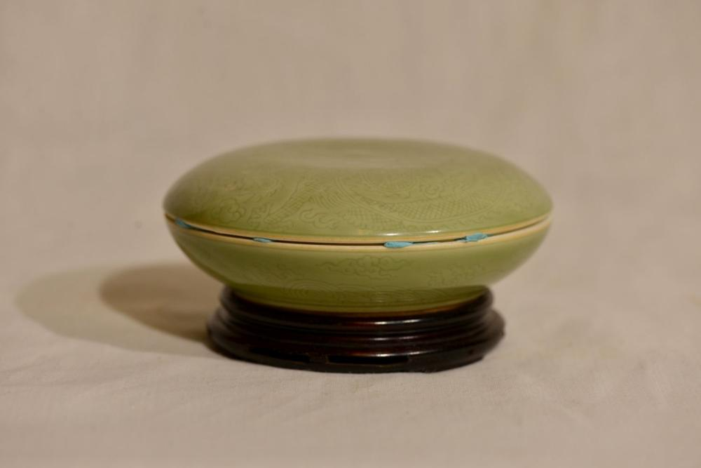 Chinese Celadon Porcelain Seal Paste Box with Dragon