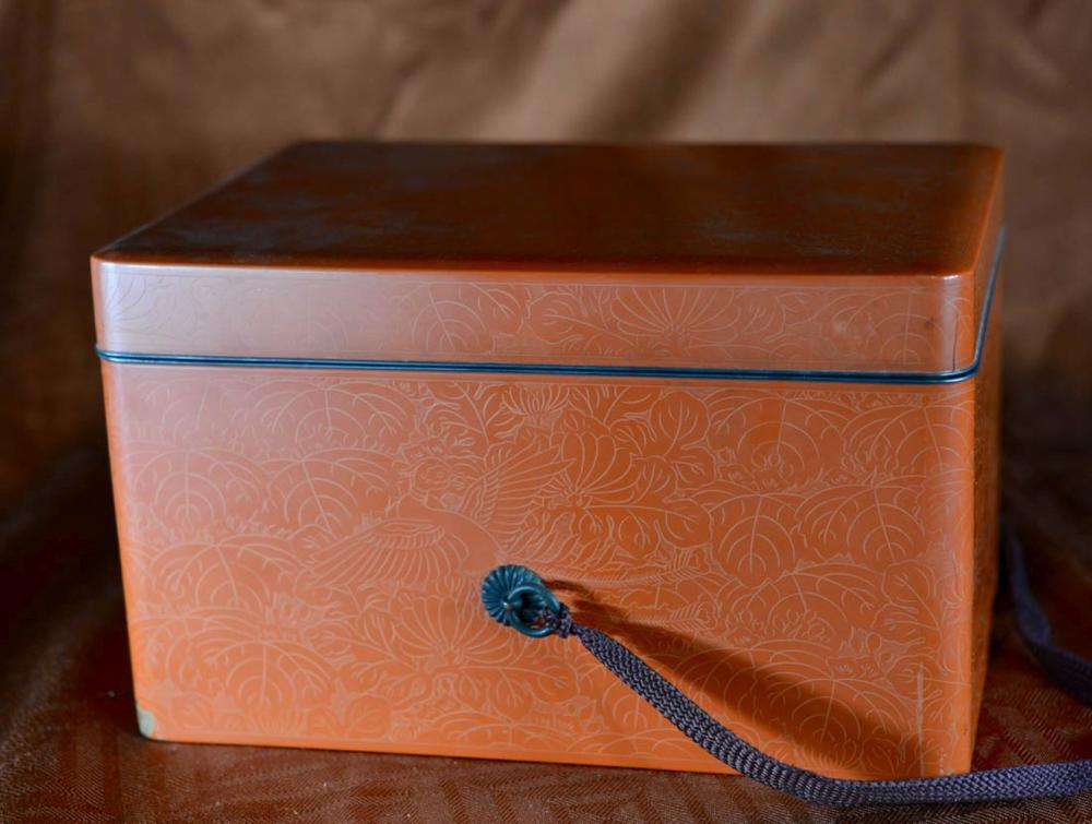 Japanese Orange Lacquer Box with Incised Bird Motif