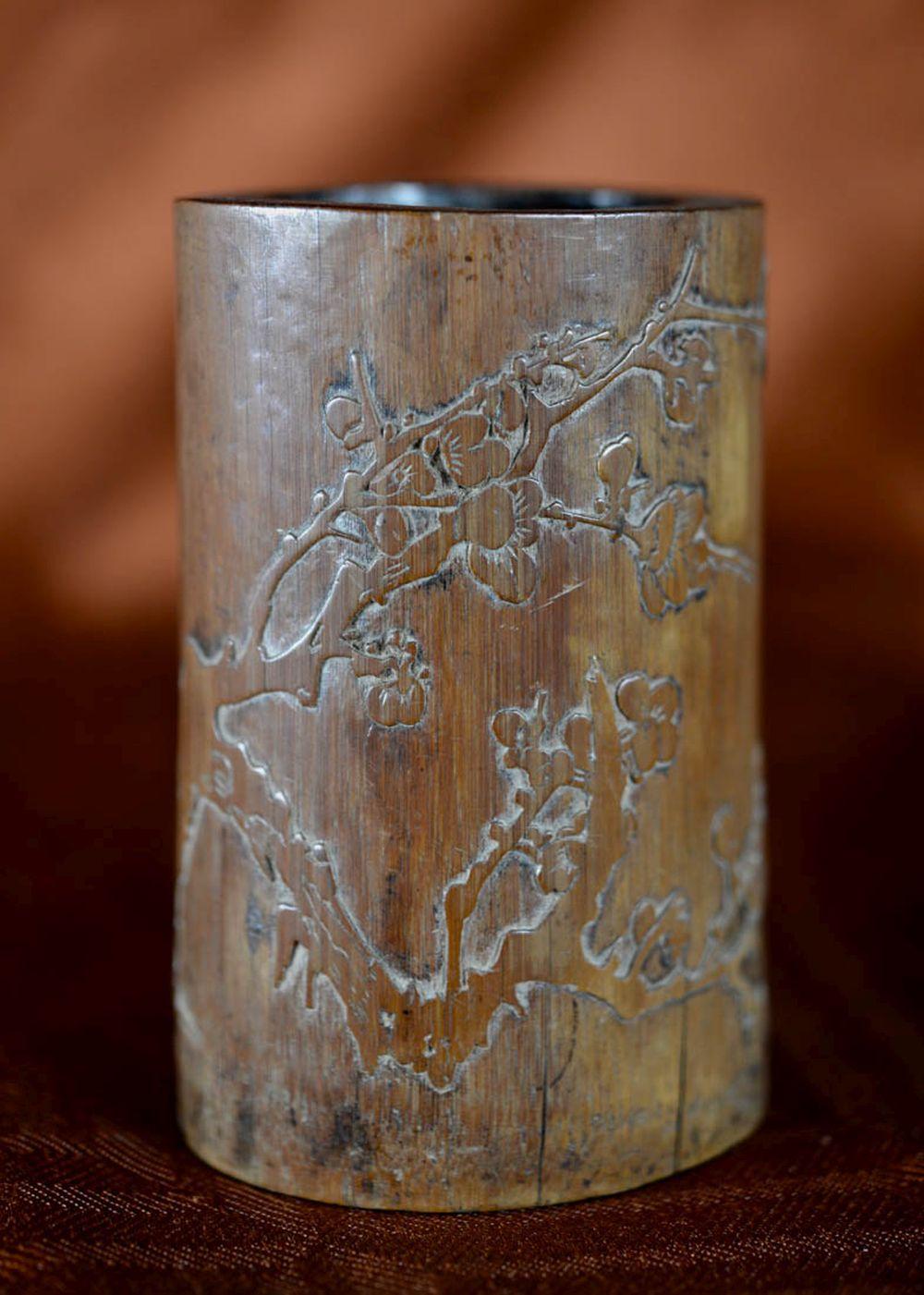 Chinese Bamboo Brushpot - Plum