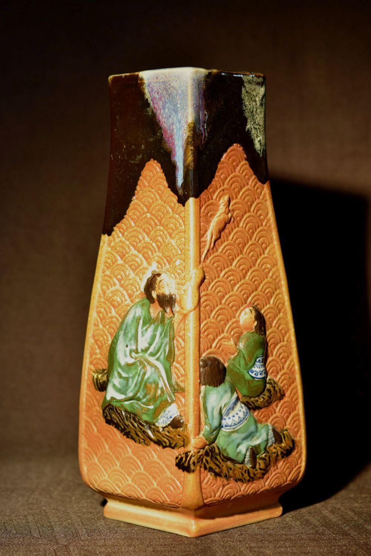 Japanese Sumidgawa PorcelainVase of Square Shape