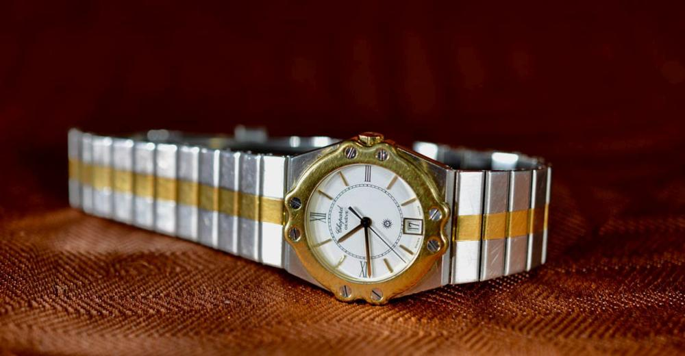 chopard stainless steel and Gold Watch