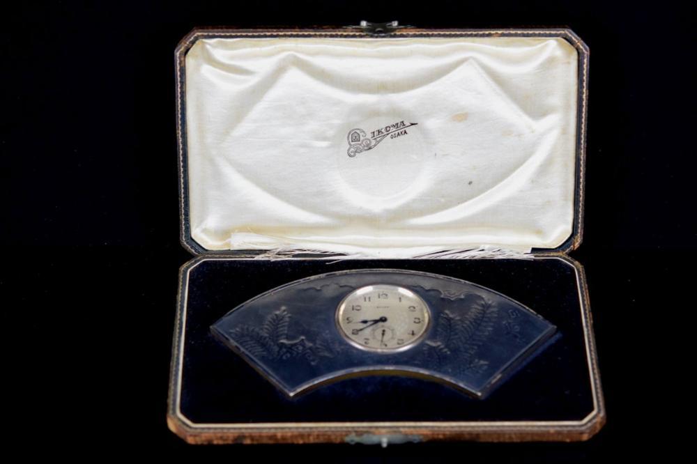 Rolex Desk Watch Clock with Silver Fan Shaped Case