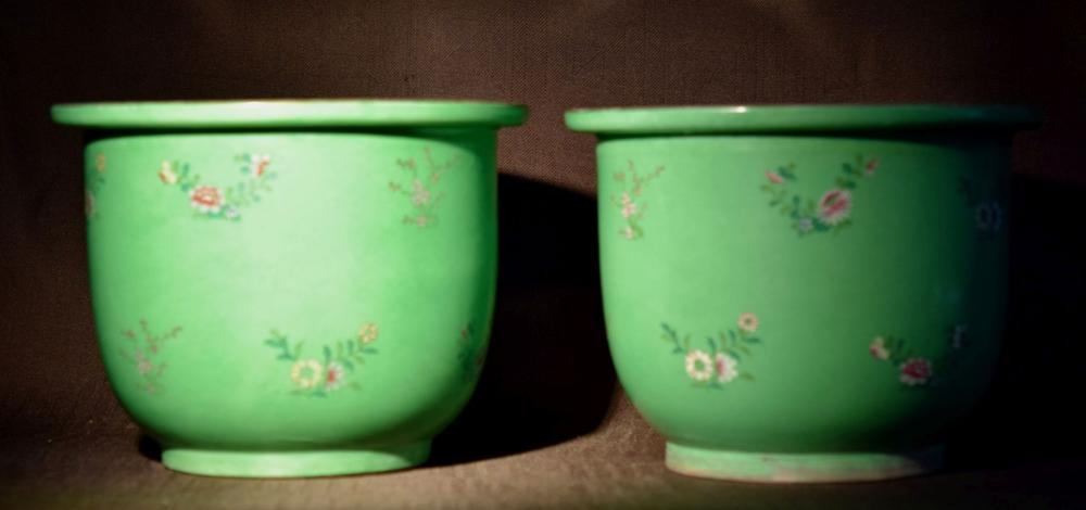 Chinese Porcelain Planters - Green with Floral Motif