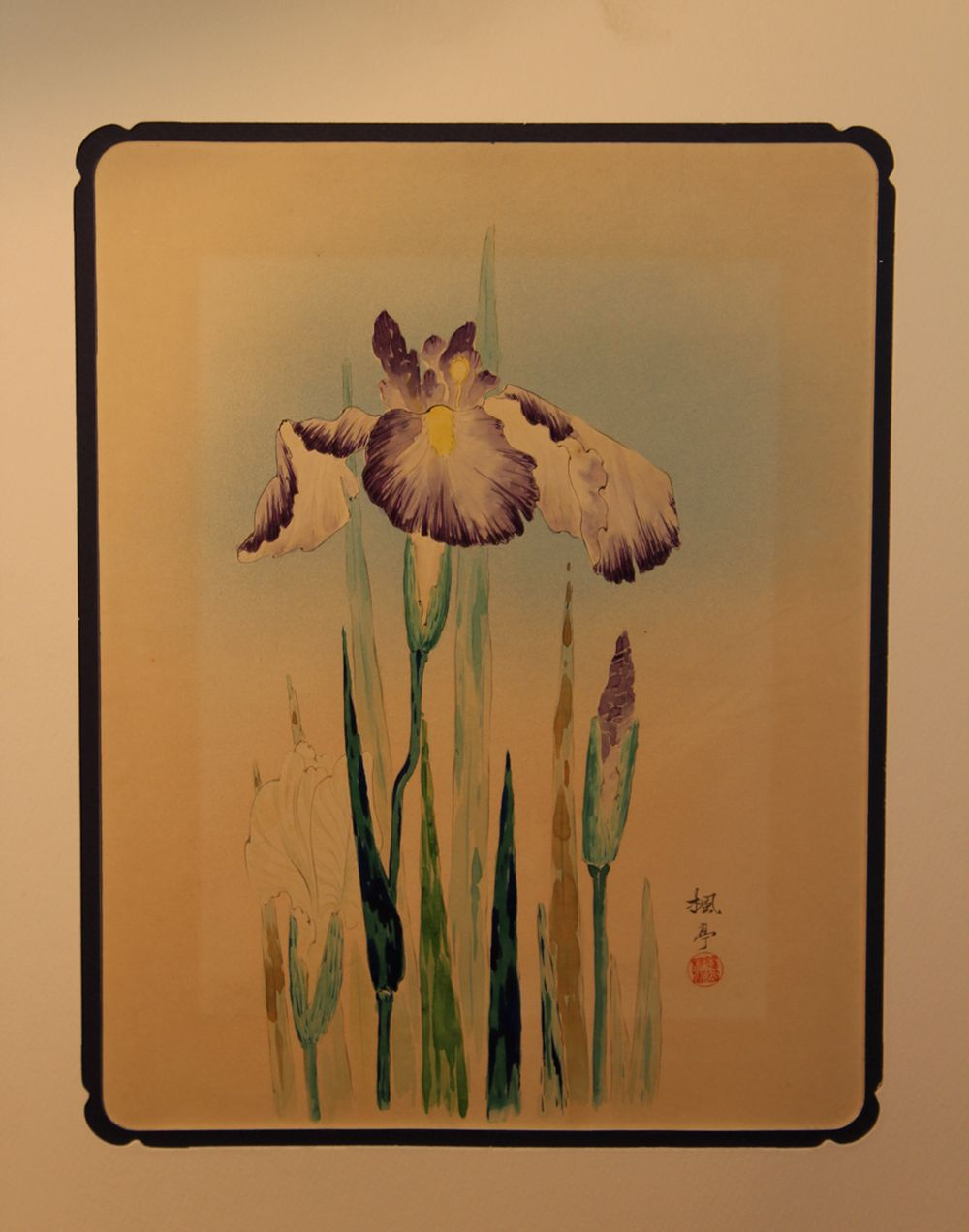 Japanese Signed Water Color Painting - Iris