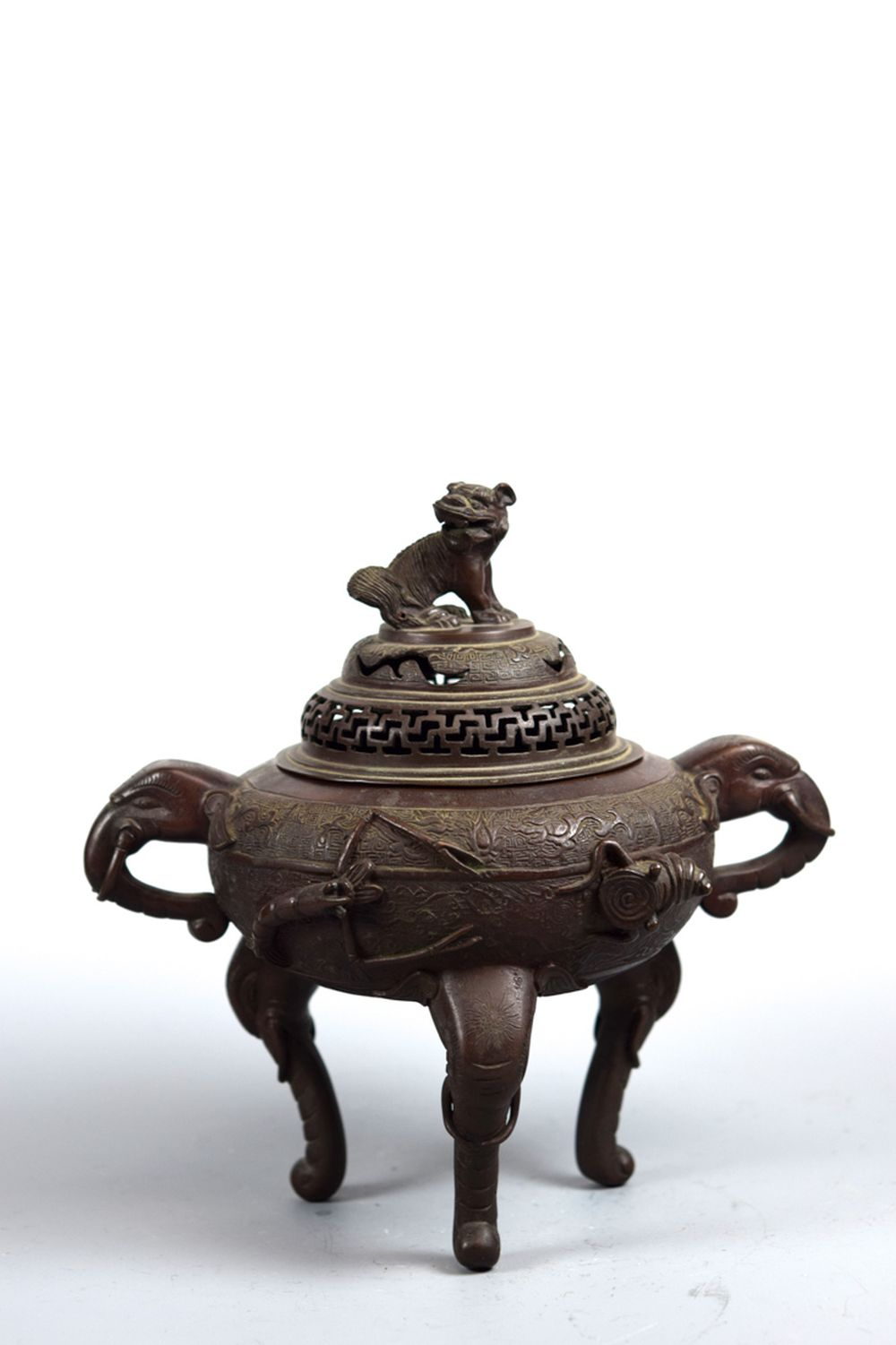 Chinese Bronze Censer with Shrimp and Fish