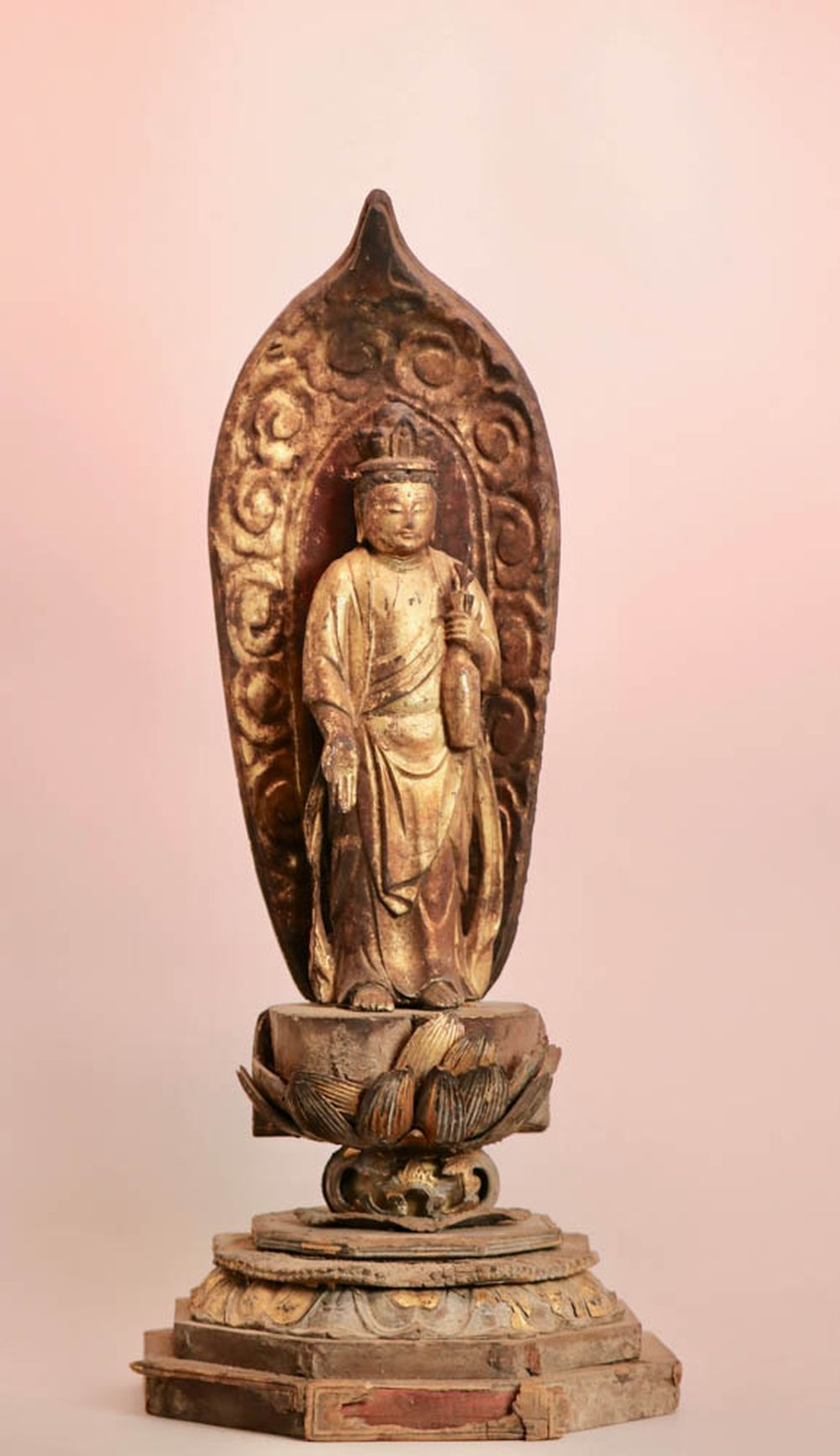 Antique Japanese Wood Buddha with Gold Lacquer