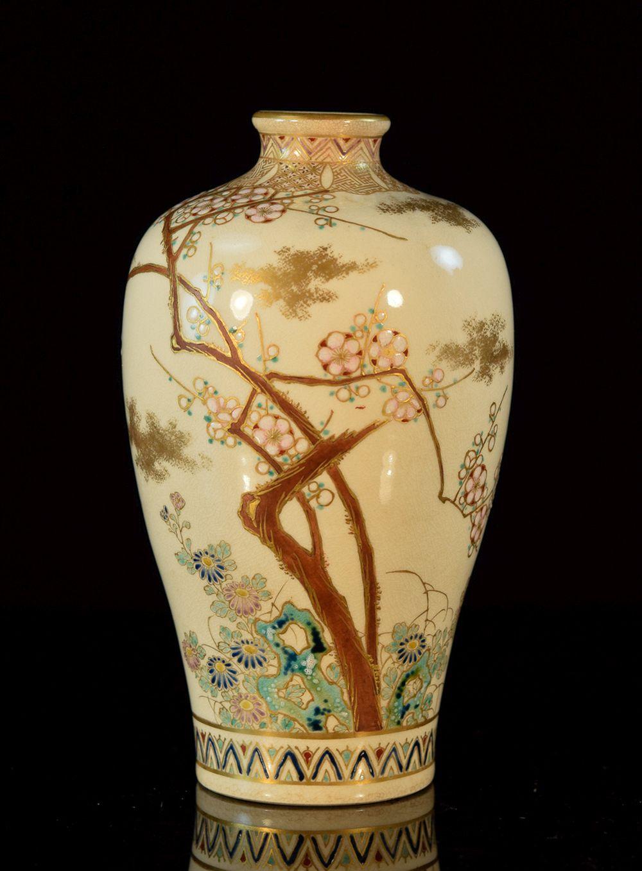 Japanese Satsuma Vase with Goshu Blue - Signed
