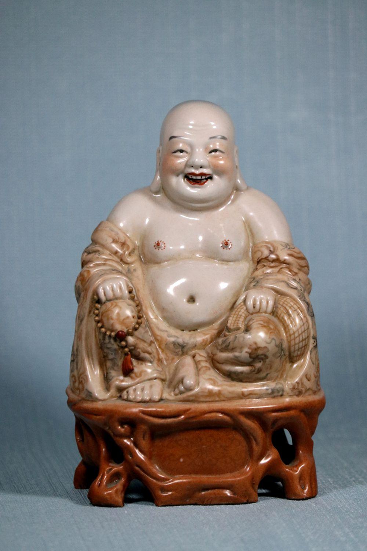 Chinese Porcelain Buddha with Marblized Robe - Signed