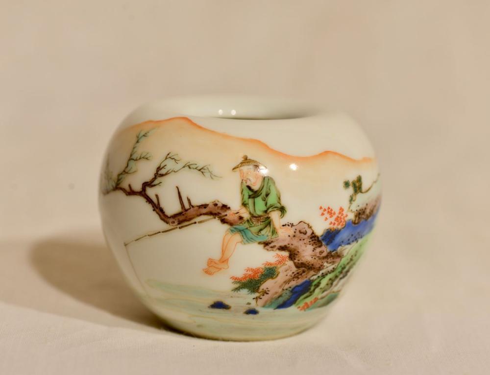 Chinese Famille Verte Porcelain Scholar Water Pot