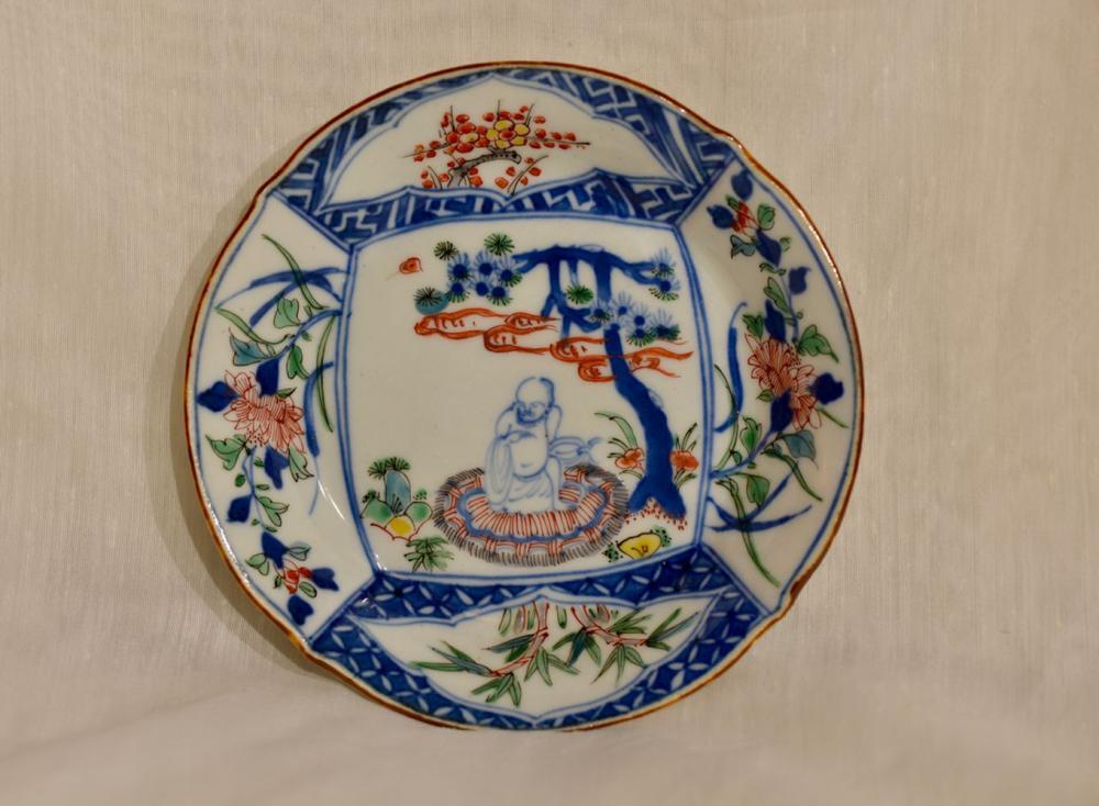 Chinese Wucai Porcelain Dish with Damo