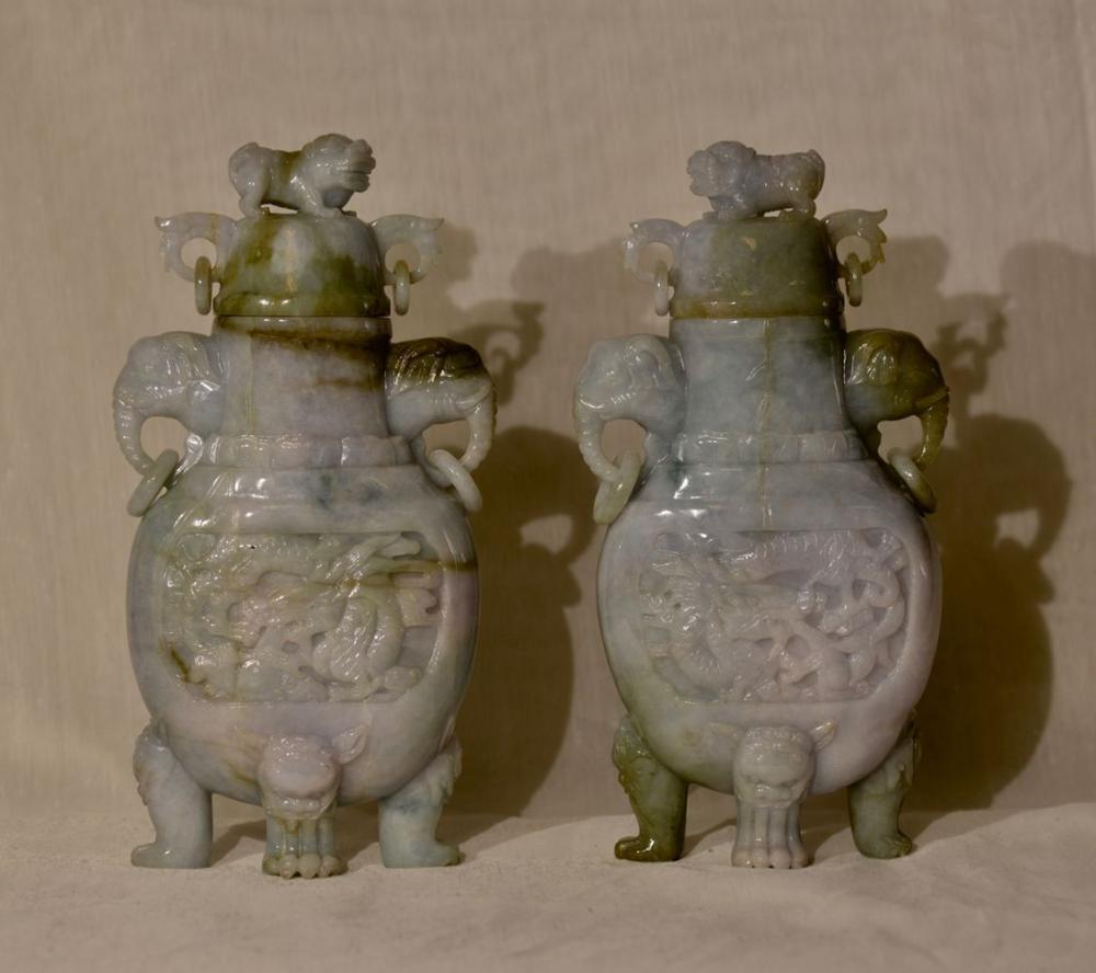 Pair Chinese Jadiete Vases with Foolion Final