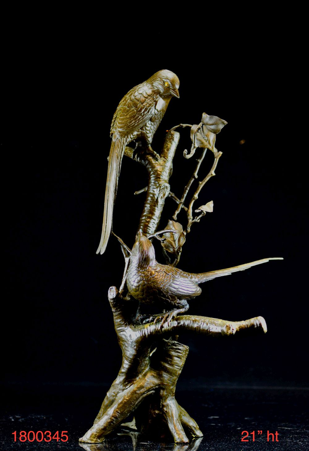 Japanese Bronze Sculpture of Bird on Branch