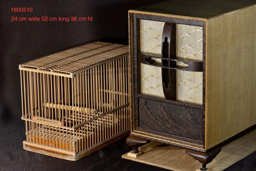 Rare Japanese Bird Cage set with Carring Box - Jiche Wood
