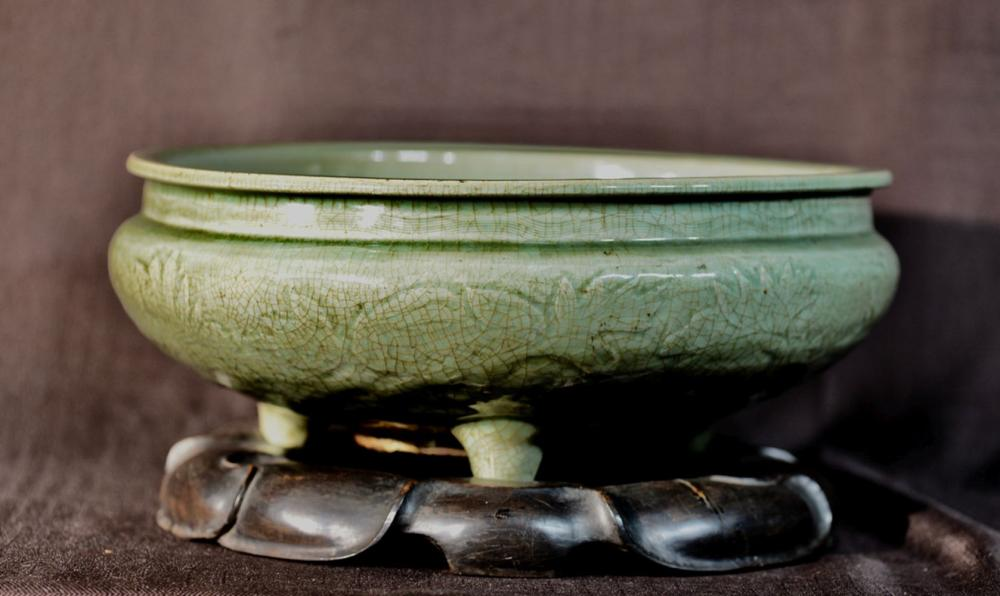 Large Chinese Ming Celadon Censer with Box