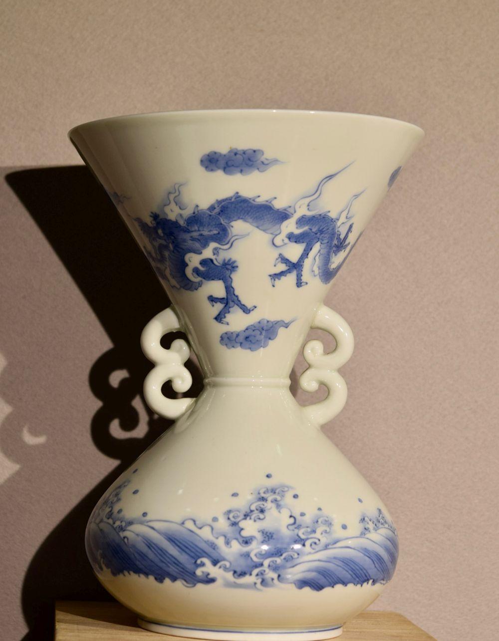 Japanese Hirado Porcelain Double Handle Vase