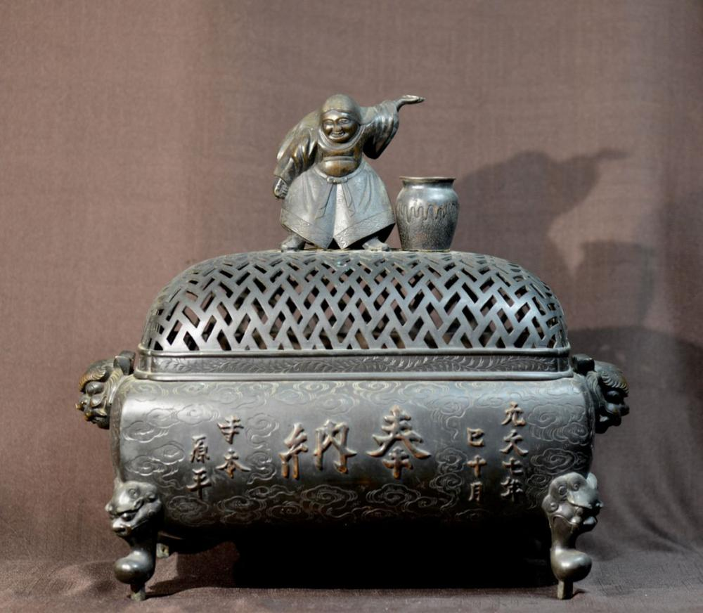 Large Japanese Bronze Cesner with Date