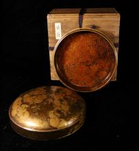 Japanese Round Lacquer Box with Presentation Box - Edo Period