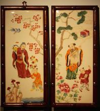 Pair Chinese Porcelain Tiles - Immortal Scene