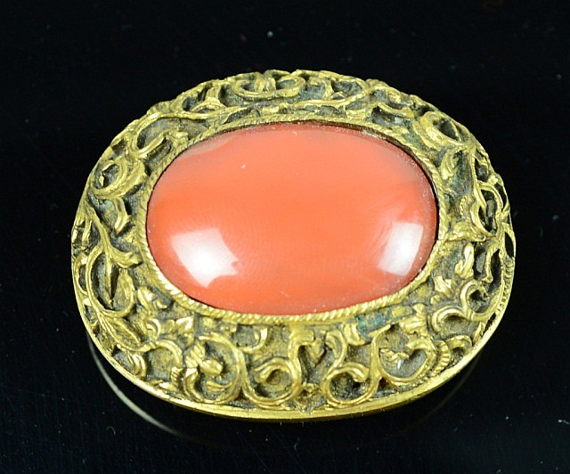 Gilt Bronze Belt Buckle with Agate Inlays