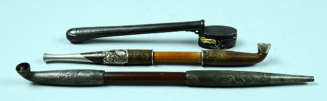 Group of Three Japanese Mixed Metal Tobacco Pipes