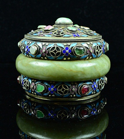 Chinese Enameled Silver Box with Jade Buckle