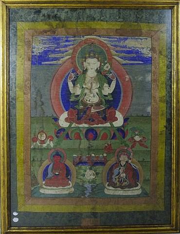 Tibetan Tangka Painting - Seated Kuanyin