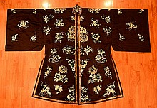 Chinese Blue Lady Embroidery Robe
