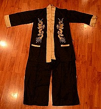 Oriental Blue Lady Silk Dress Set