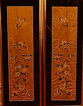 Pair Chinese Framed Embroidery Panels