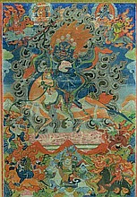 Tibetan Thangka-Lahmo on Horse