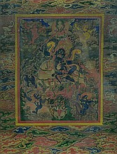 Tibetan Thangka-Lahmo with Bats Border